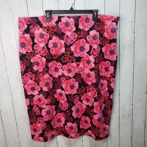 New! Worthington Floral Pencil Skirt Exposed Zip
